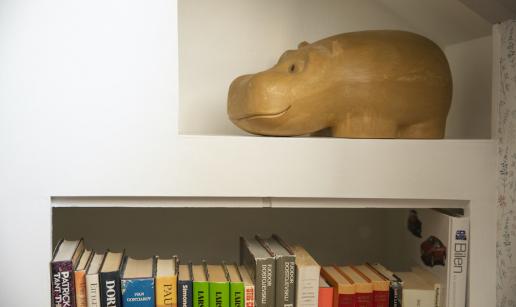Bokhylla med böcker och en prydnadsflodhäst i trä.